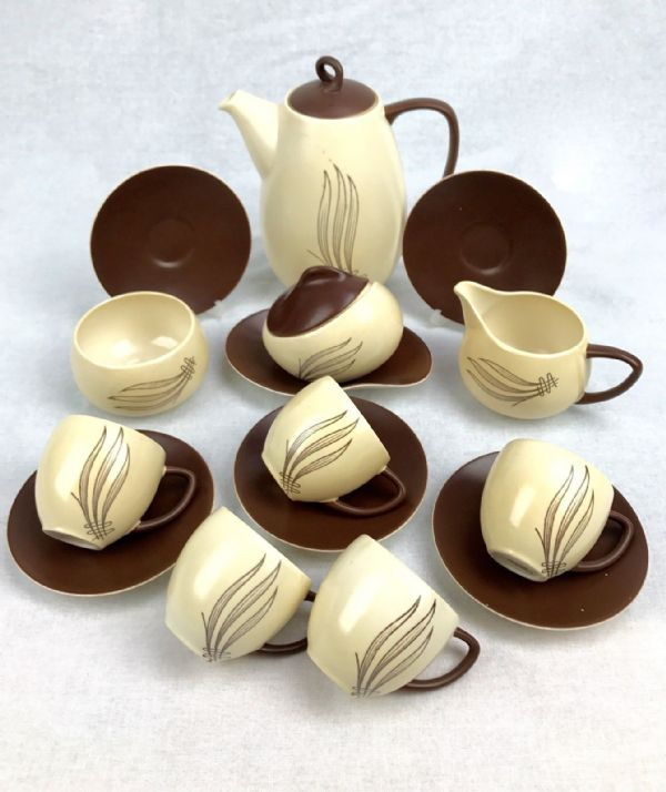 Carlton Ware Windswept Tea Set Brown And Cream / Vintage / Coffee / 15 Piece